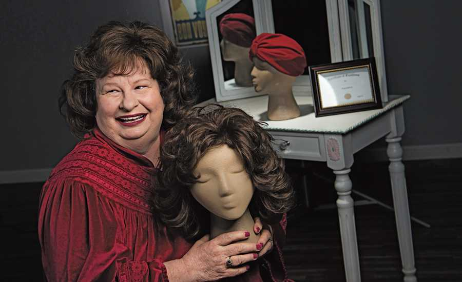 "Debra Downing with her ""friend,"" Bertha the wig"