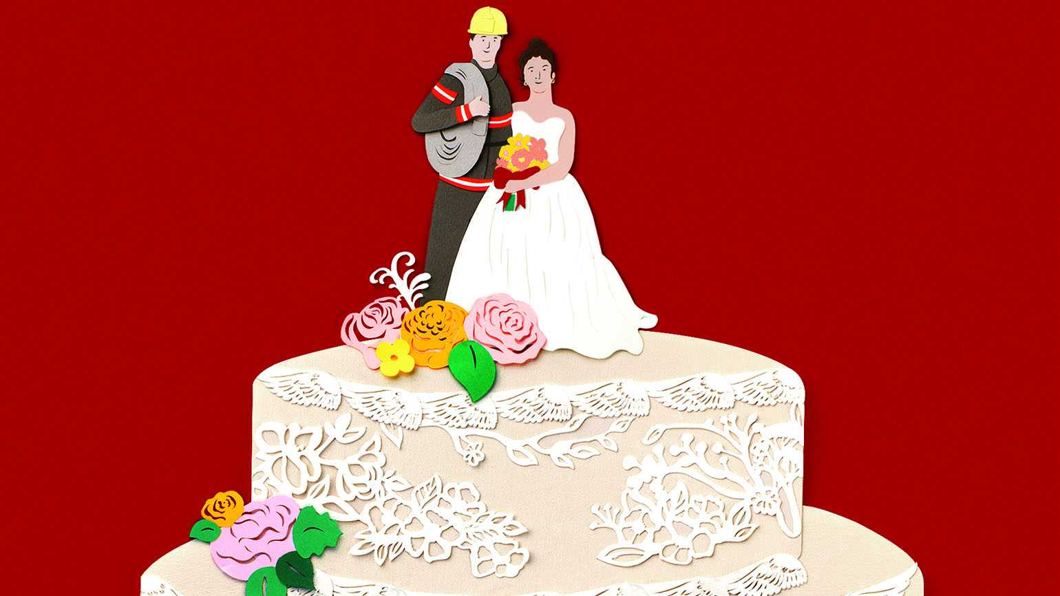 An illustration of a wedding cake topper