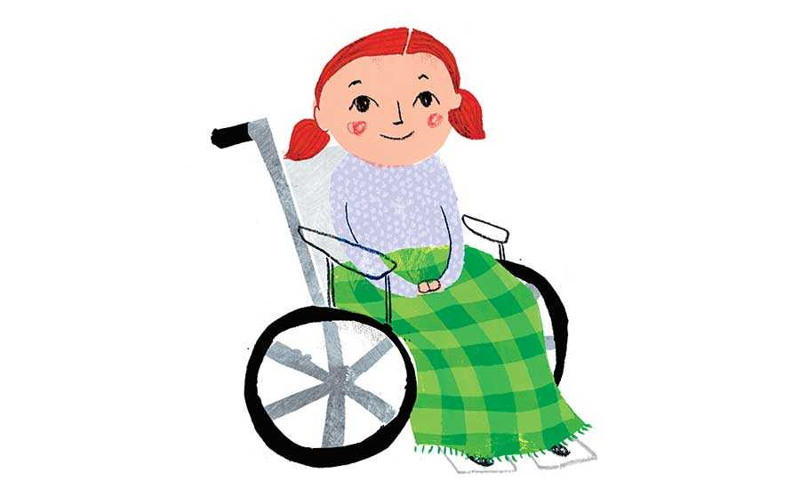 An artist's rendering of a little girl in a wheelchair, with a comfy blanket covering her lap and legs