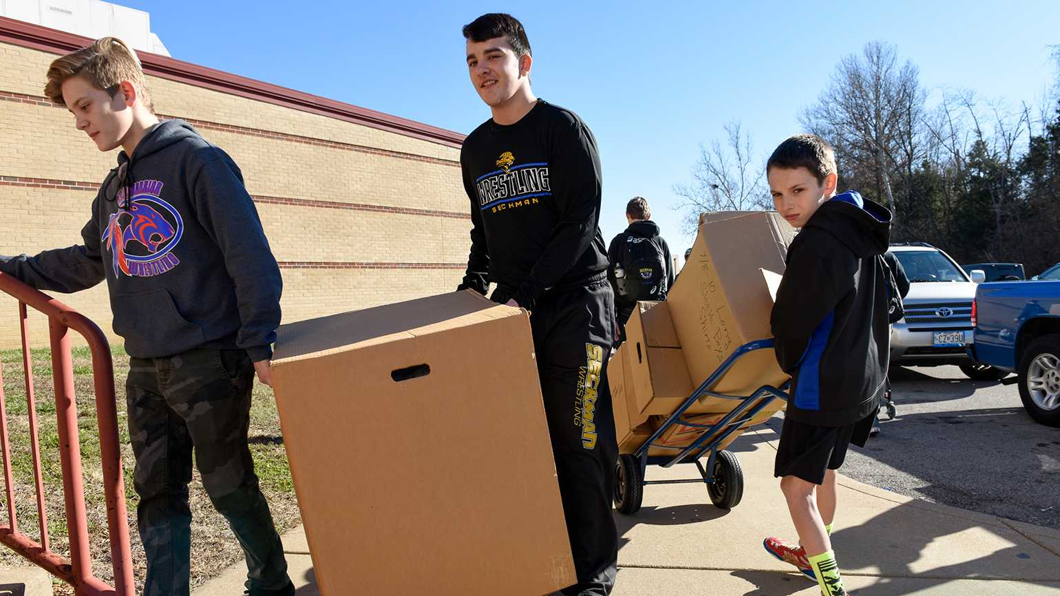 Donations are collected by students and volunteers at Fox High School in Arnold, Missouri, for flood victims.