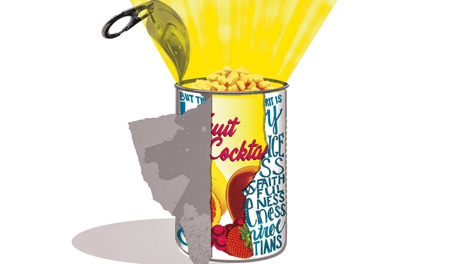 Illustration of corn in a fruit cocktail can