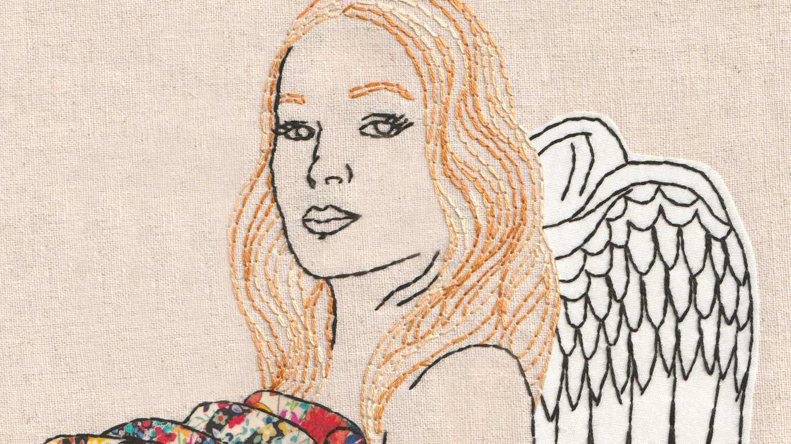 An artist's rendering of a quilted angel holding colorful, patterned quilts.