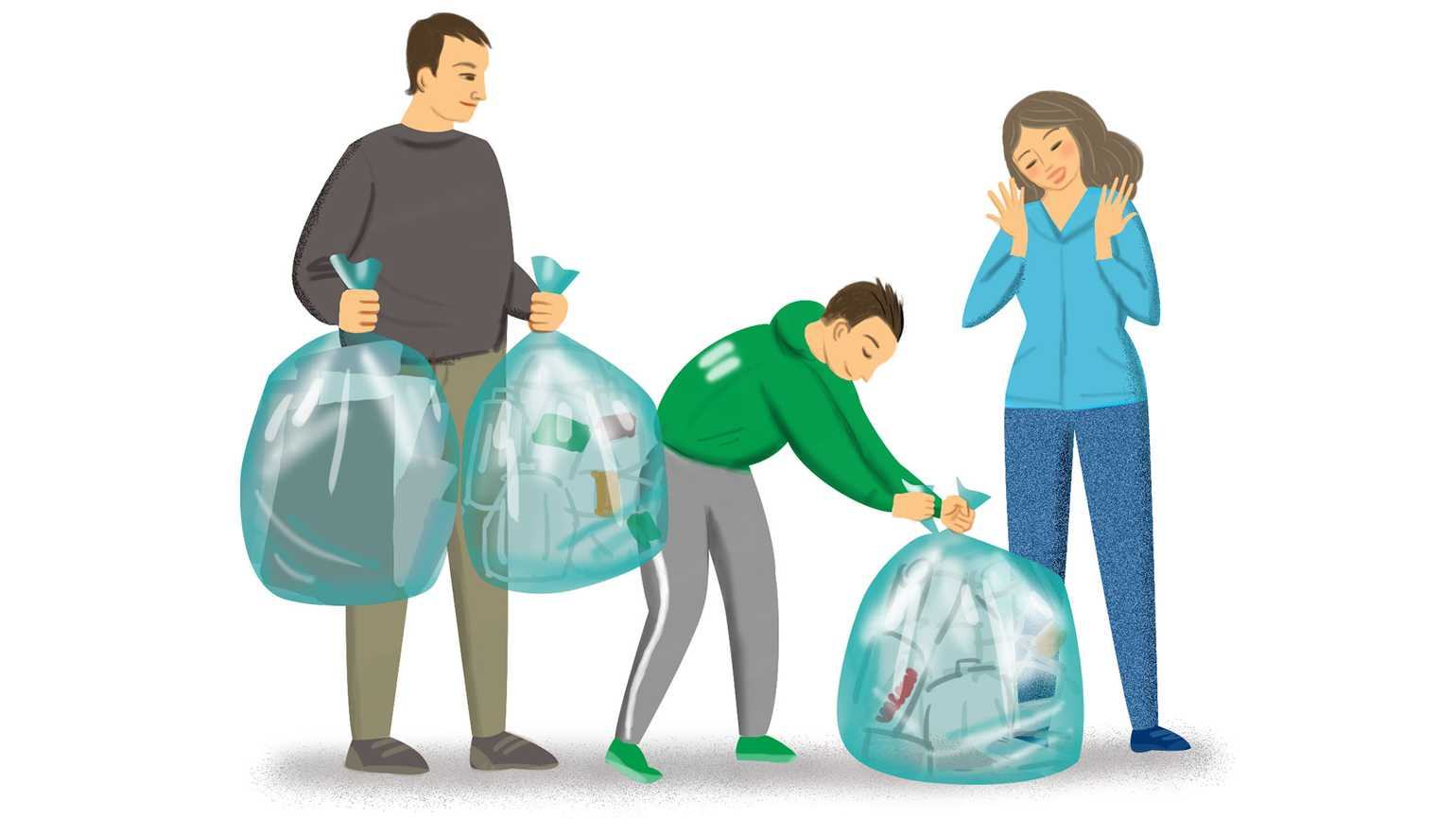 Strangers helping each other recycle.
