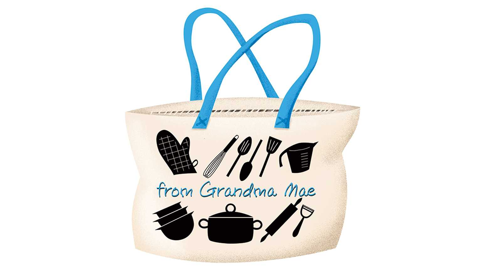 A tote bag that reads 'from Grandma Mae' with cooking utensil icons.
