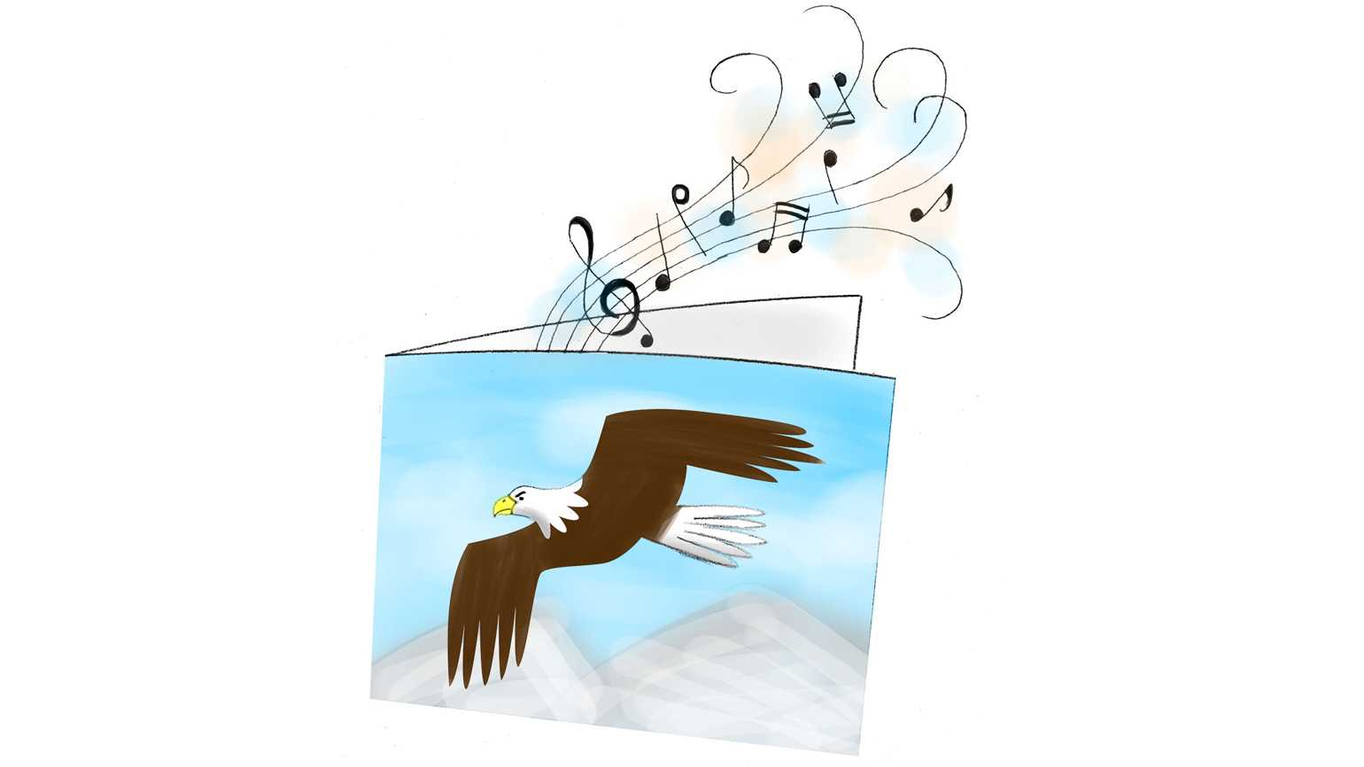 A greeting card with a soaring eagle on the cover. Music notes drift from the card.