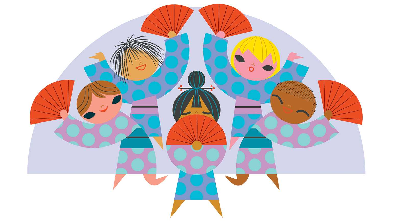 An artist's rendering of a multicultural group of children doing a traditional Japanese dance