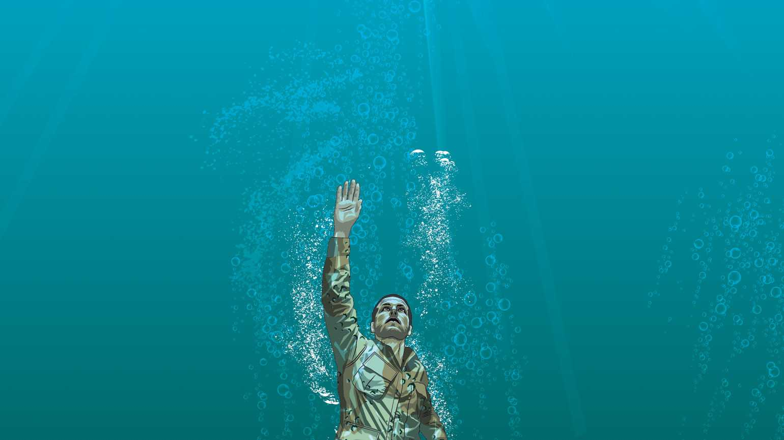 An artist's rendering of a soldier underwater trying to swim to the surface.