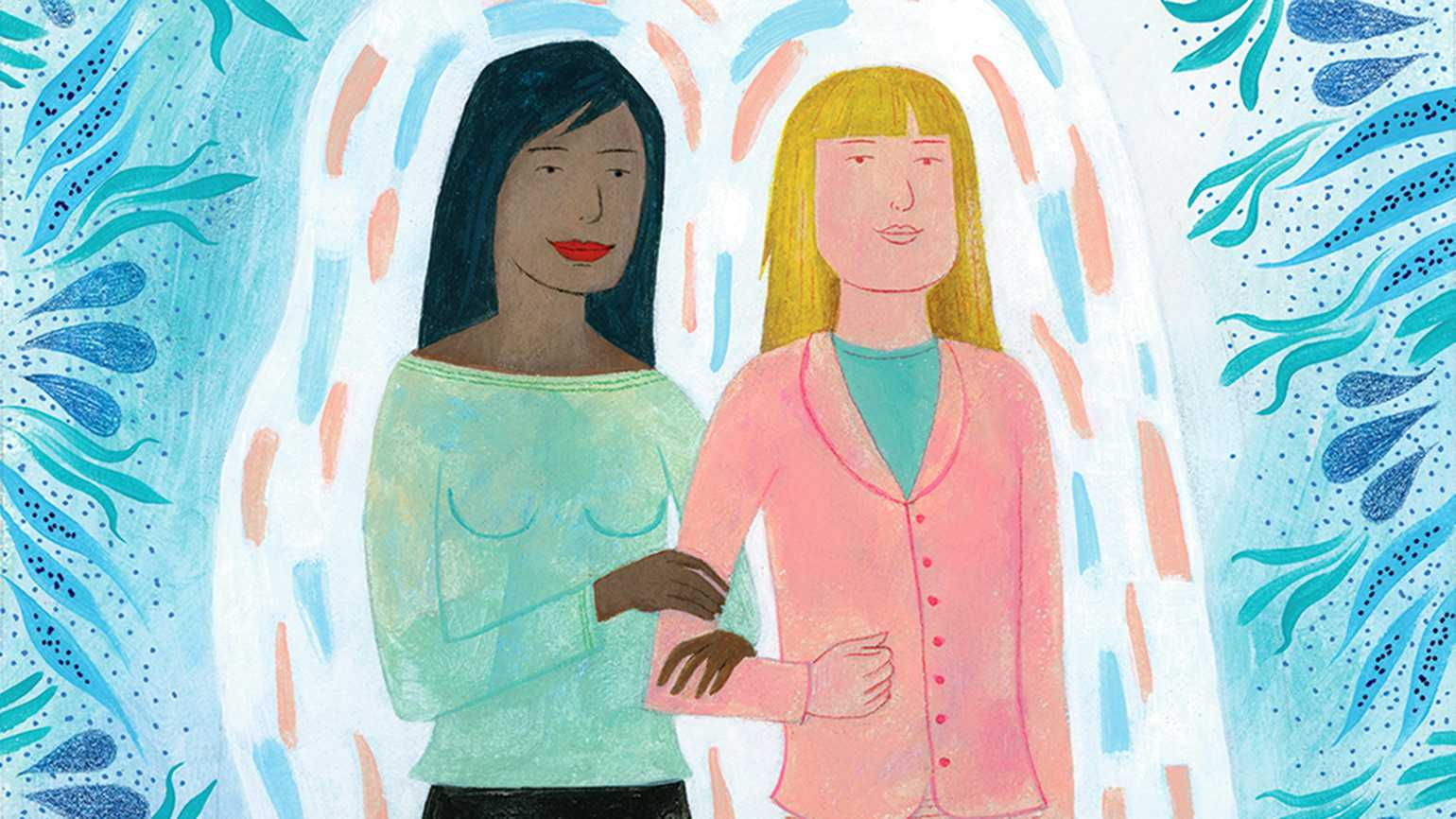 An artist's rendering of a pair of women who are soul friends