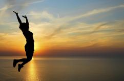 Woman leaping. Thinkstock.