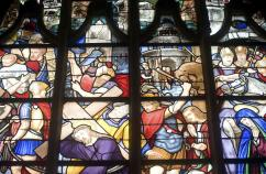 La Ferté-Bernard (France) - Gothic church interior, stained glass window. Thinkstock.