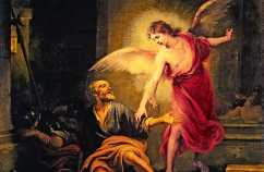 """""""Liberation of Saint Peter"""" (1665-1667) -- an angel takes Peter by the hand"""