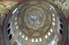 Inside the dome of The Basilica of Saint Thérèse in Normandy, France.