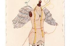 An artist's rendering of a dressmaker's form with angel wings