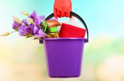 close-up of woman with cleaning supplies