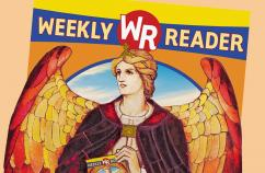 An artist's rendering of an issue of Weekly Reader with an angel pictured on it