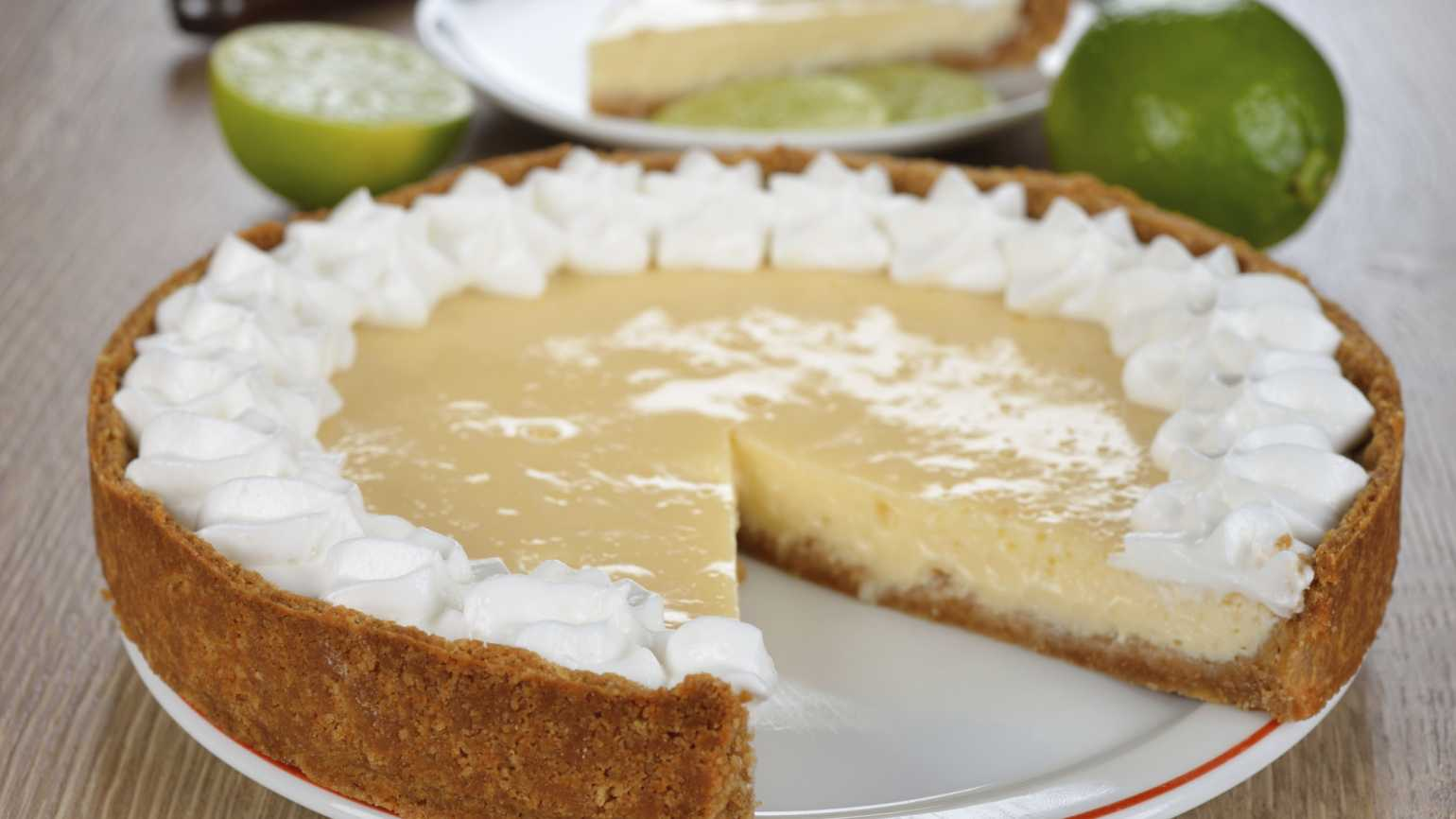 Key Lime Pie with one slice missing