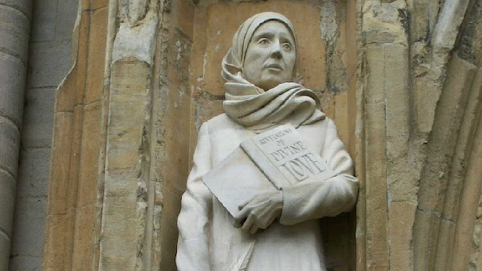Statue of Julian of Norwich by David Holgate, west front, Norwich Cathedral. Image Wiikimedia, Tony Grist.