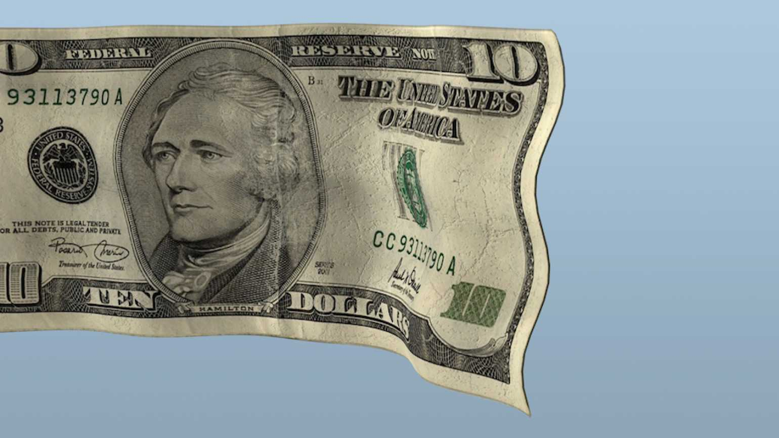 A ten-dollar bill. Thinkstock.