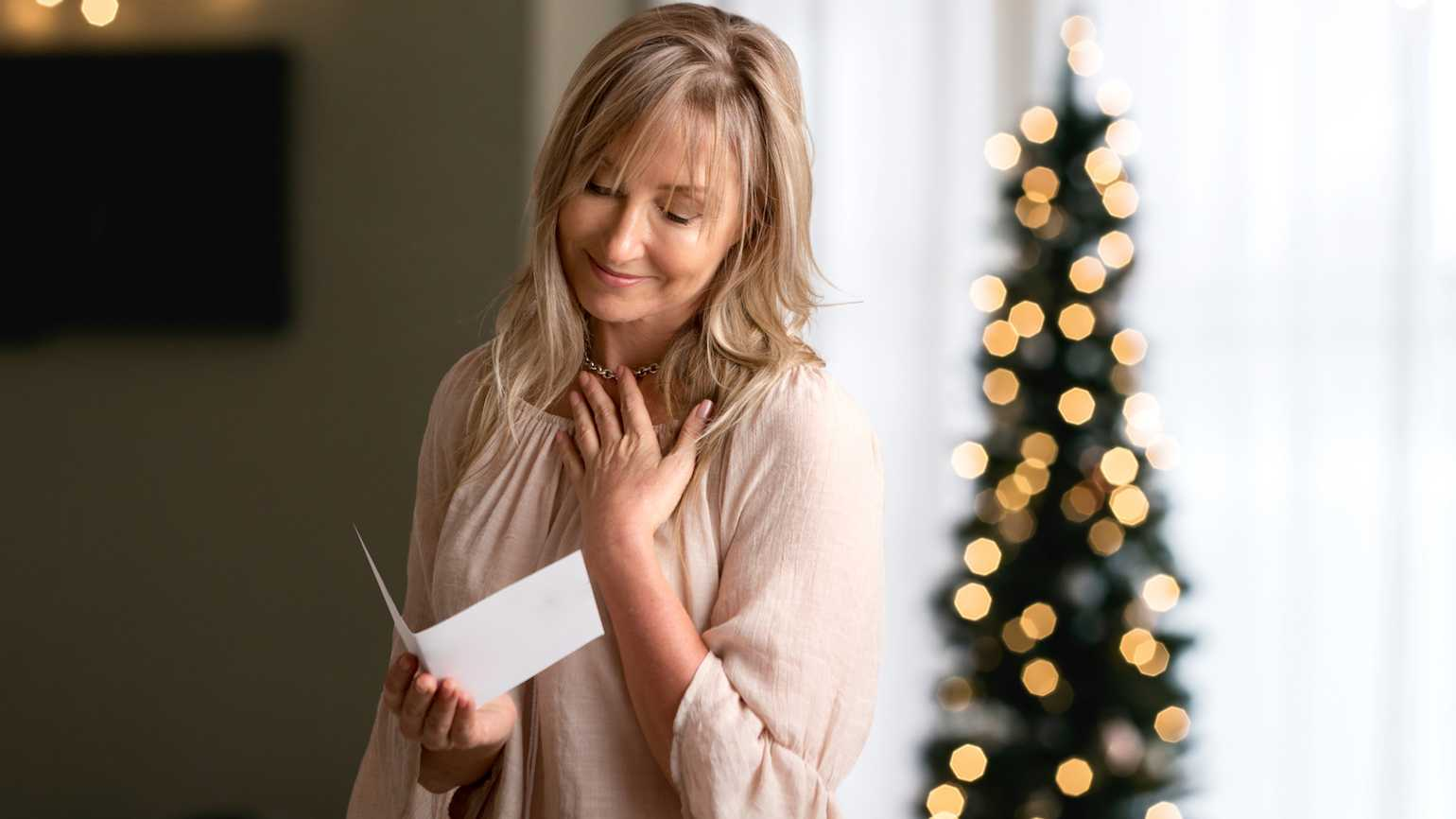 Looking at a Christmas card