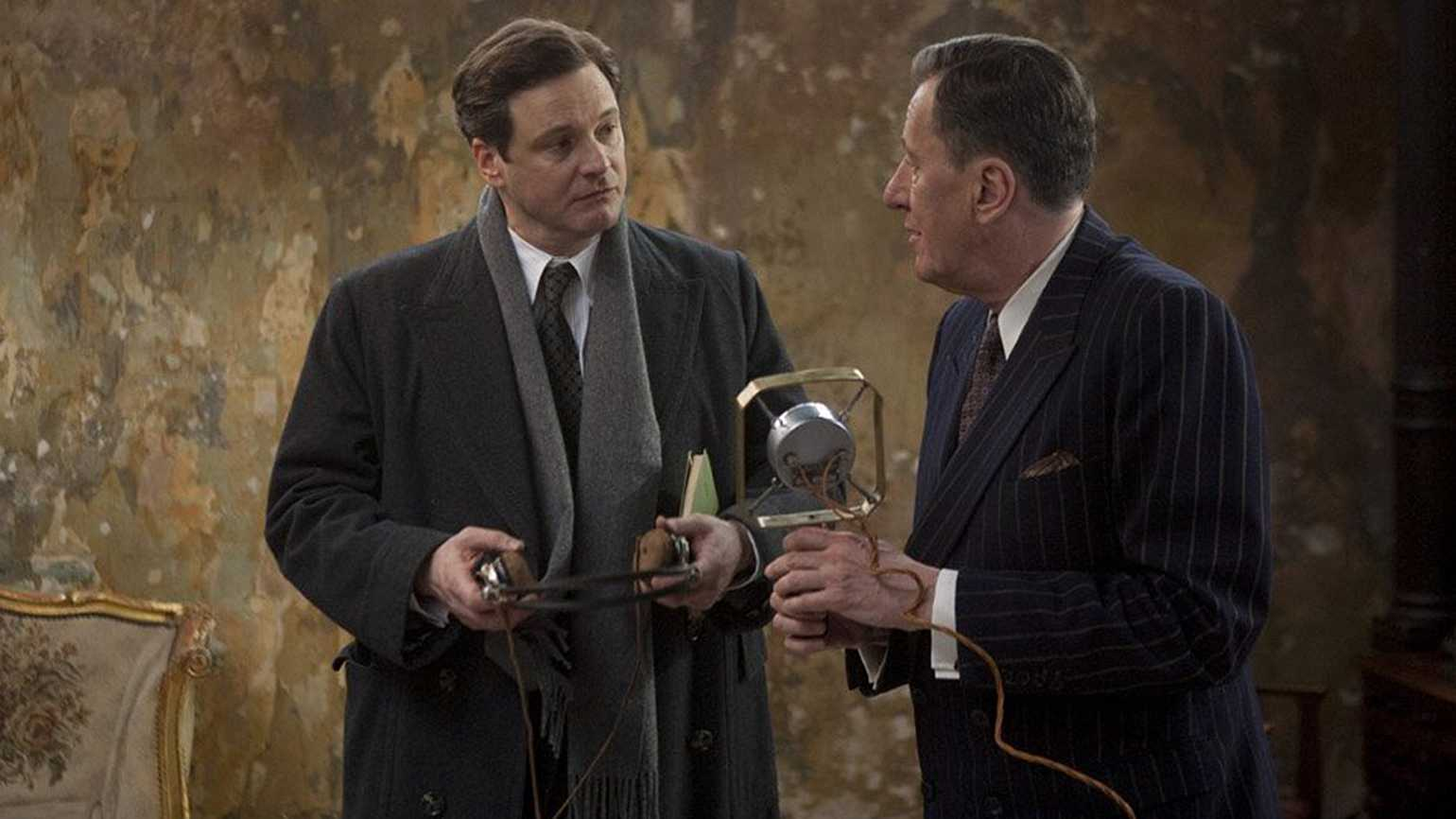 Colin Firth (left) and Geoffrey Rush in a scene from The King's Speech