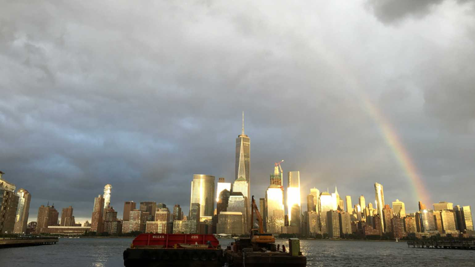 a rainbow over the world trade center