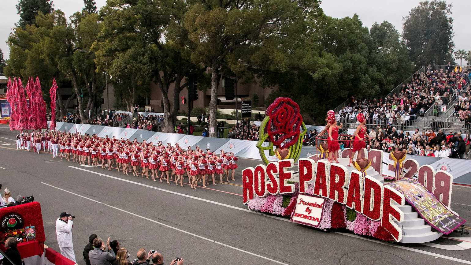 The official Rose Parade float appears at the 128th Tournament Of Roses Parade Presented By Honda on January 2, 2017 in Pasadena, California.