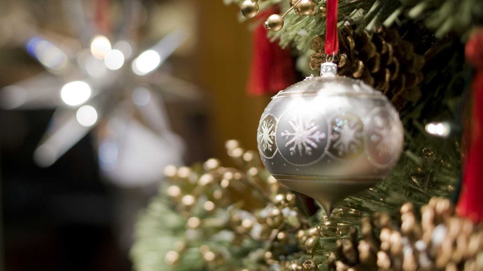 Close up of a silver Christmas ornament hanging on a branch of a Christmas tree.