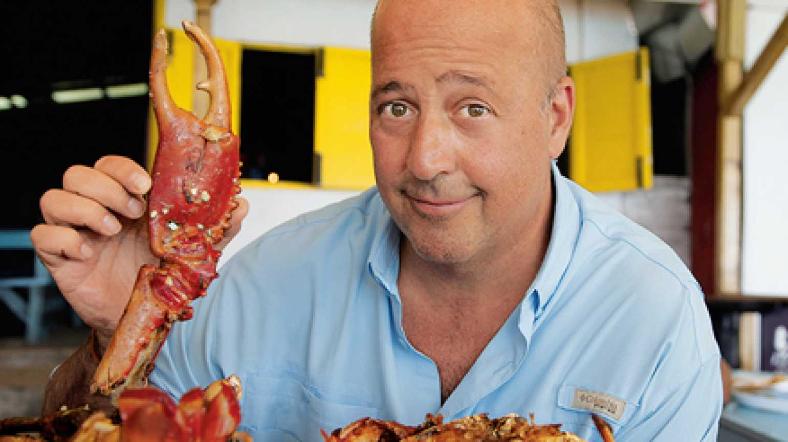 Andrew Zimmern on the set of Bizarre Foods