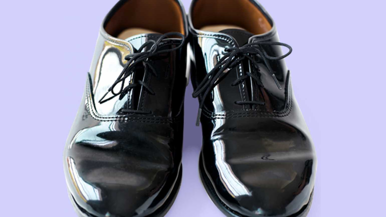 A pair of men's black dress shoes