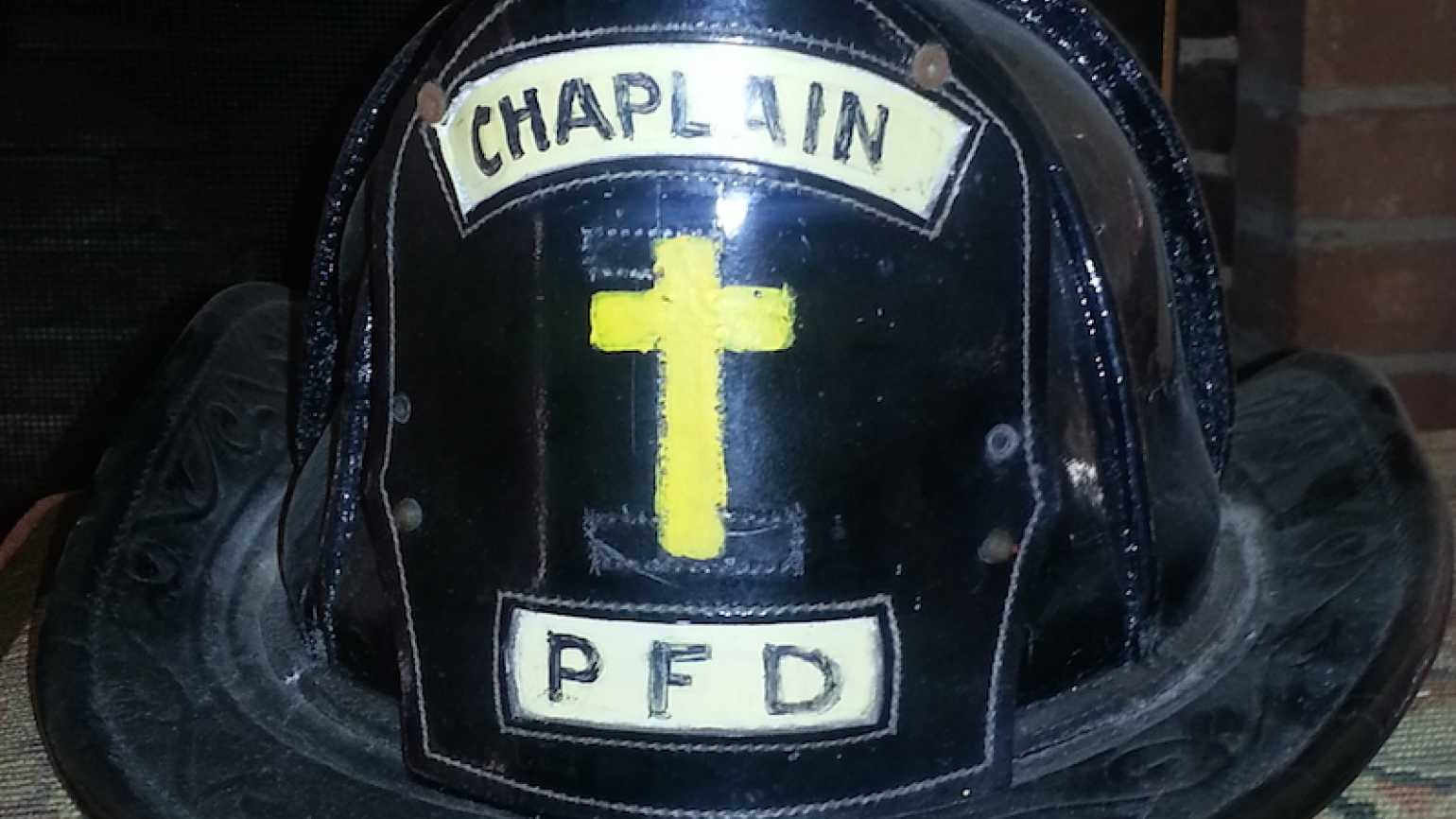 Dr. Norman Vincent Peale's helmet when he was a fire department chaplain