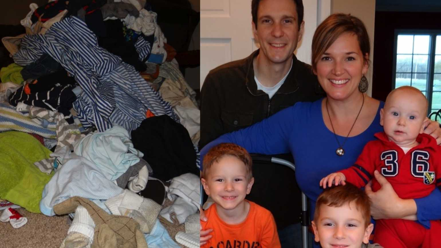Blogger and author Rachel Gerber, her family and a mountain of laundry