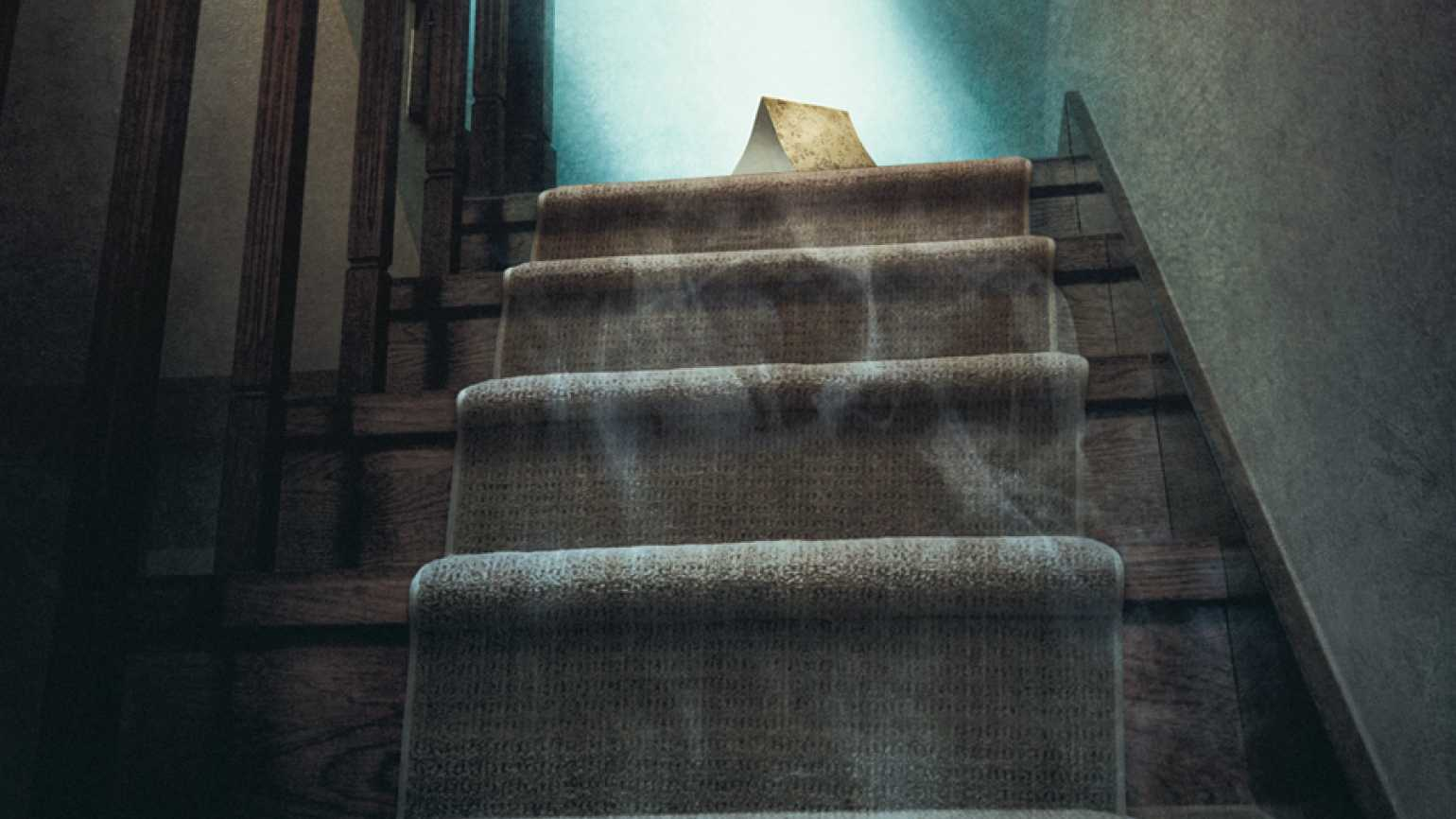 An artist's rendering of a greeting card at the top of a flight of stairs