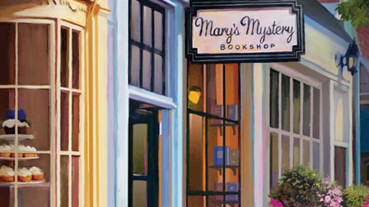 An artist's rendering of Mary's Mystery Bookshop