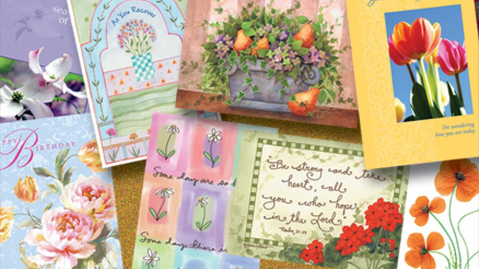 Caring enough to save very best a bulletin board filled with greeting cards m4hsunfo