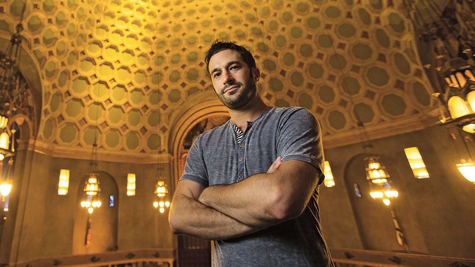 Aaron Wolf in the newly renovated Wilshire Boulevard Temple