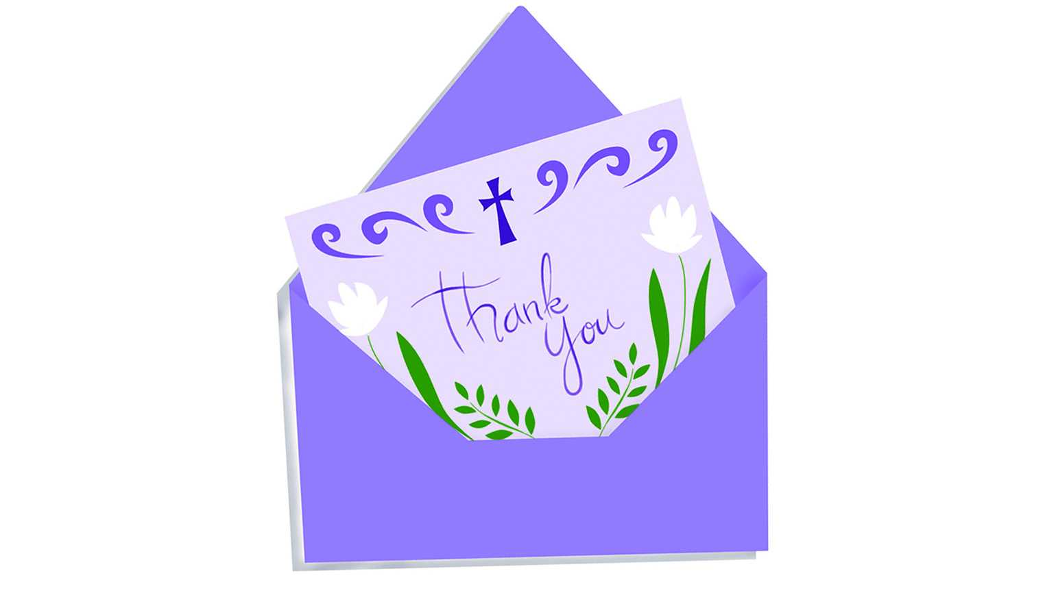 An illustration of a 'Thank You' card in an envelope adorned with white lilies and a cross.