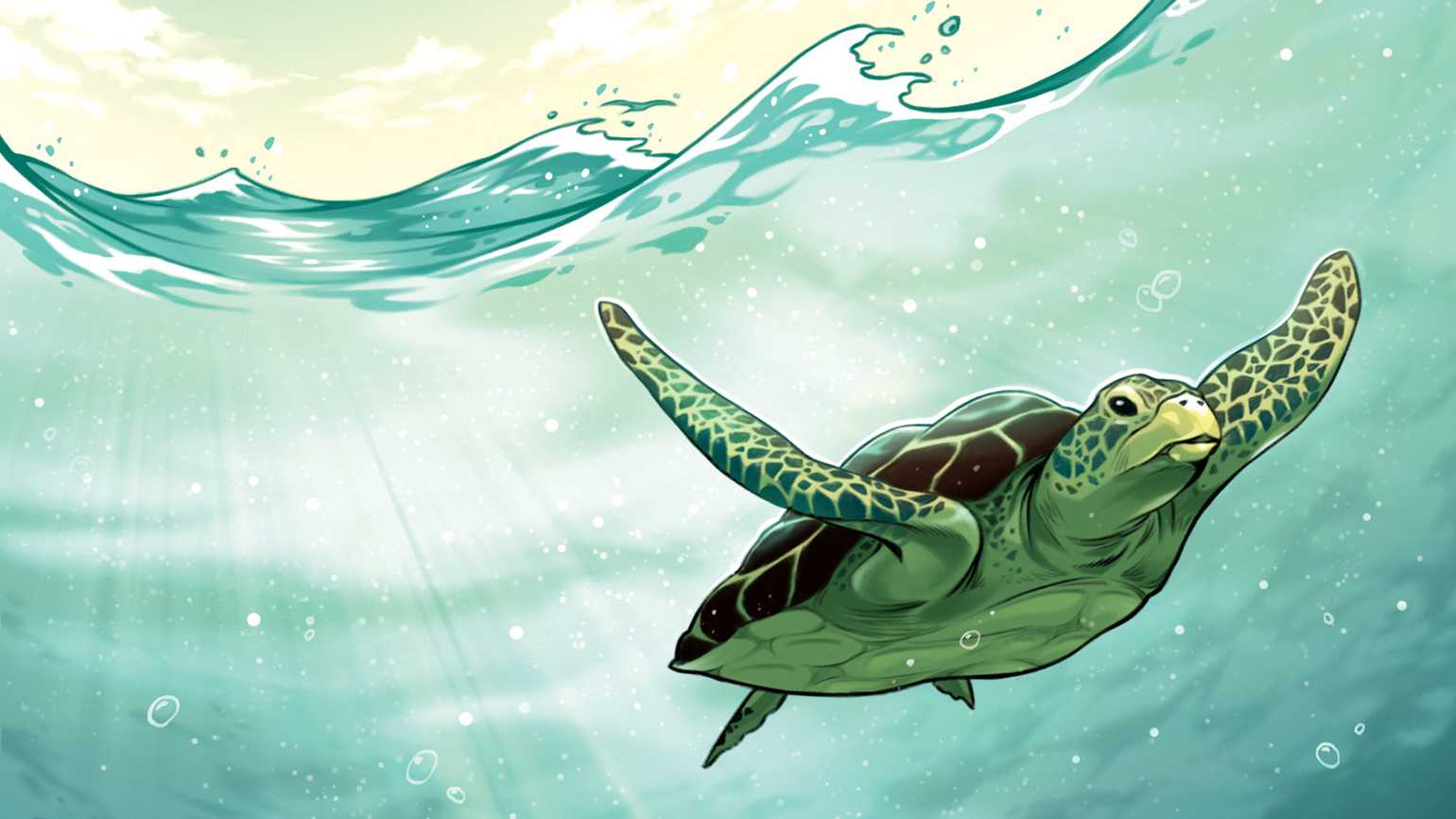 An artist's rendering of a sea turtle gliding along underwater