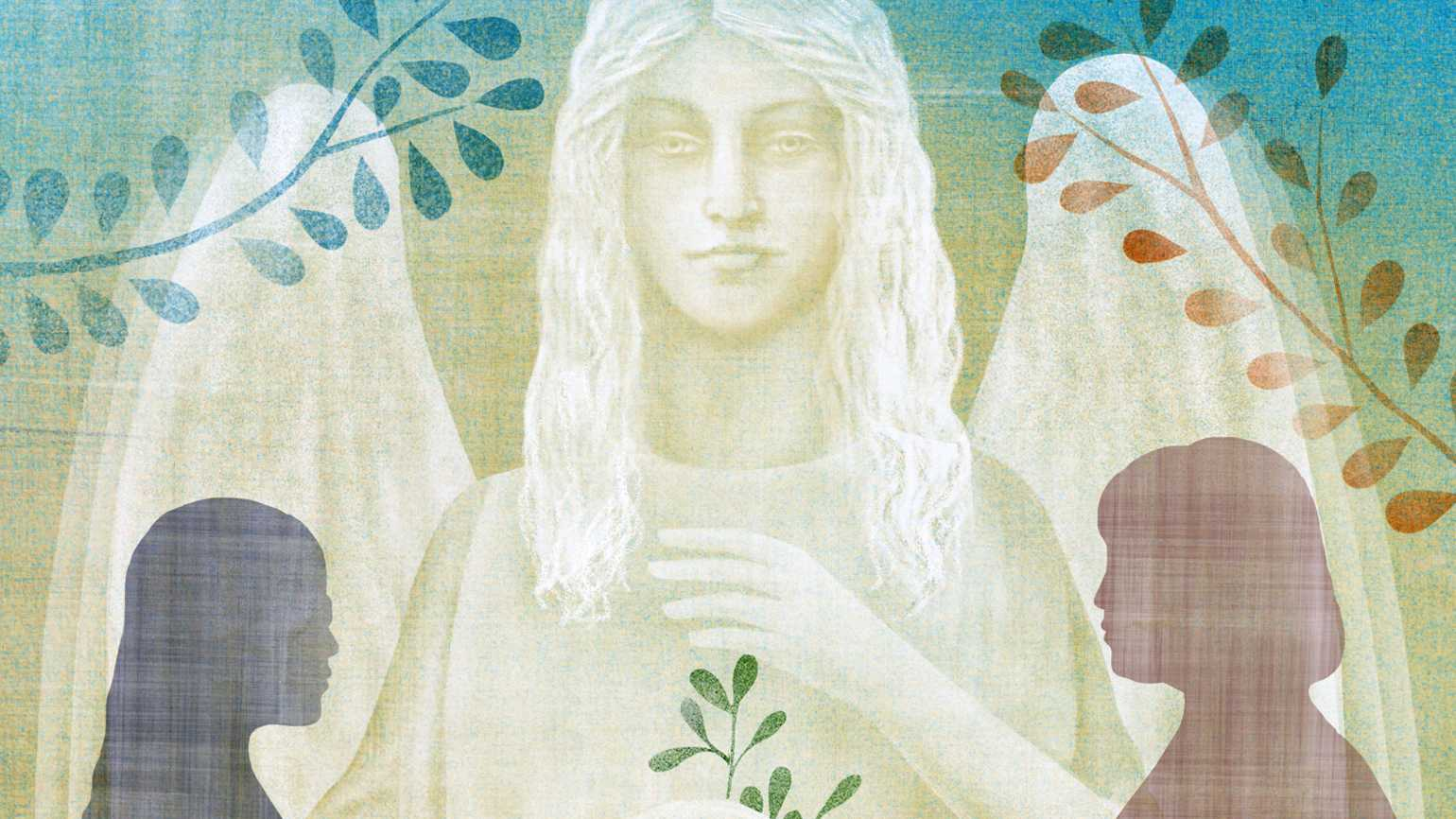 An artist's rendering two female silhouettes facing each other as an angelic figure looms in the background.