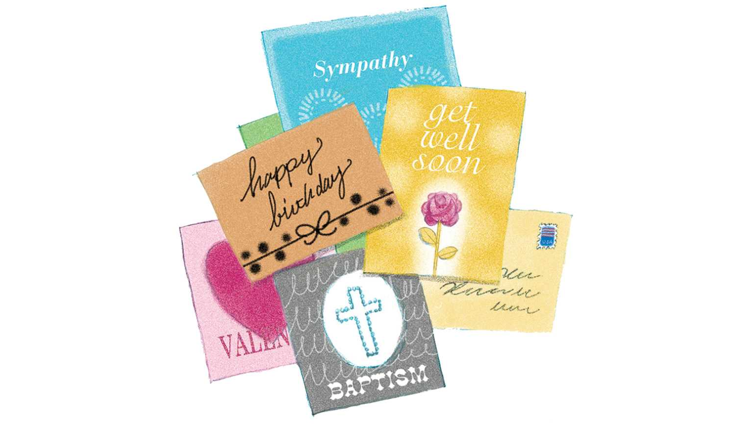 Someone cares card care guideposts an artists rendering of an assortment of greeting cards m4hsunfo