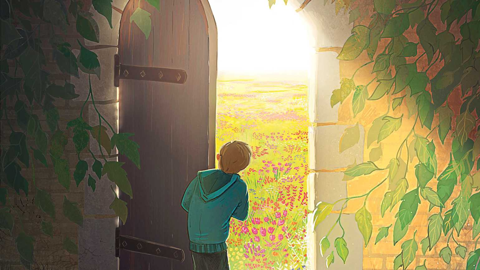 A curious child peeking out of a large mysterious door that leads to a field of flowers and sunlight.