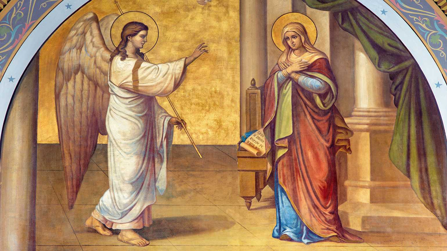 Athens - The fresco of Annunciation on the facade of Metropolitan Cathedral by B. Antoniasis