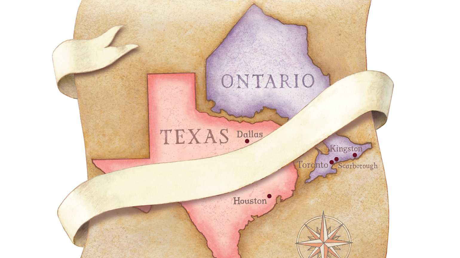 An illustration depicting Texas and Ontario on a map with a sash connecting them together.