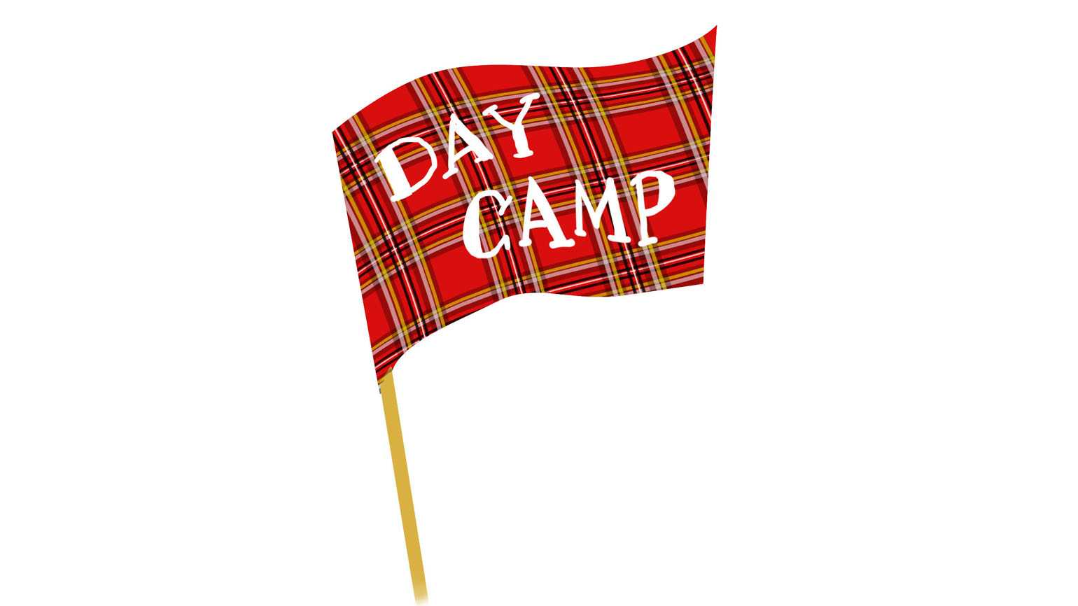 A red plaid flag that reads 'DAY CAMP'.
