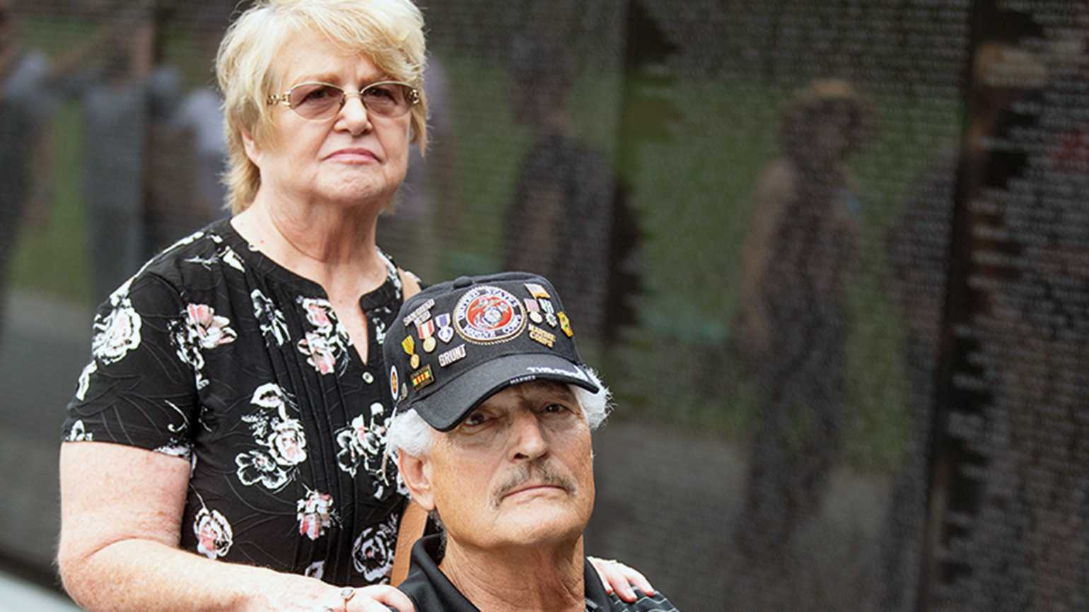 Eddie and his wife, Connie, on a recent visit to the Vietnam Veterans Memorial, in Washington, D.C.