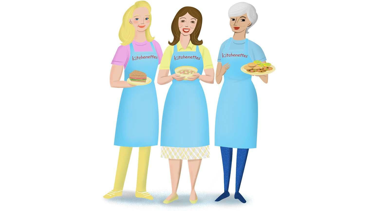 Three kitchenettes with various meals in hand.