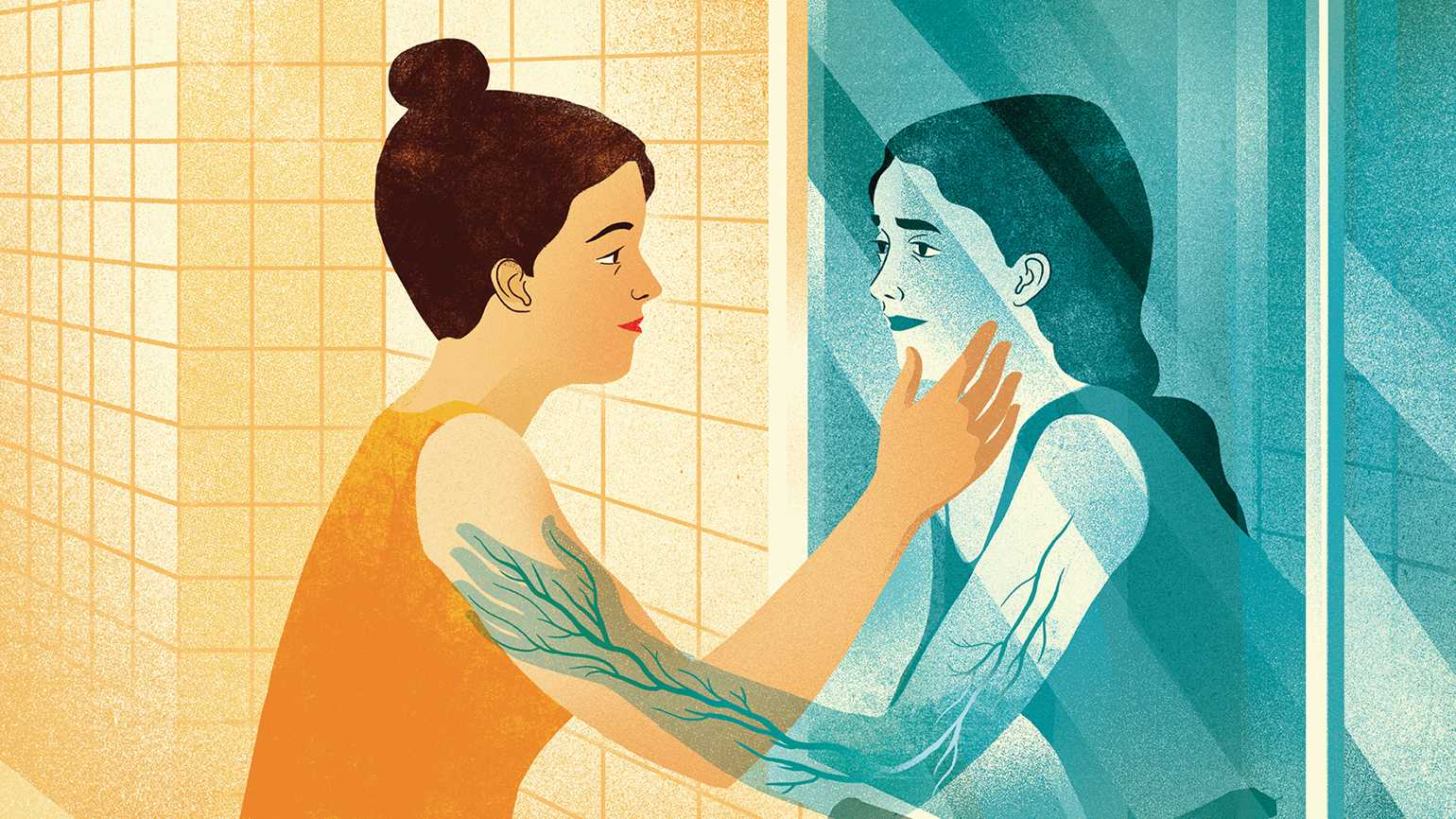 An artist's rendering of a woman gazing into a mirror at a loved one who shares her pain