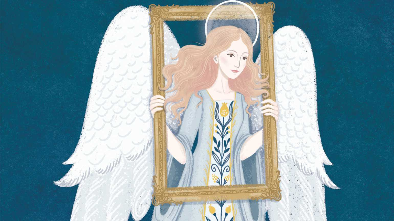 An artist's rednering of an angel peering through a painting frame.