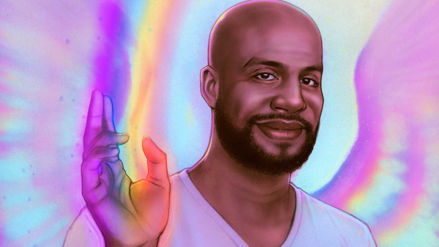An angelic man with rainbows emitting from his hands.