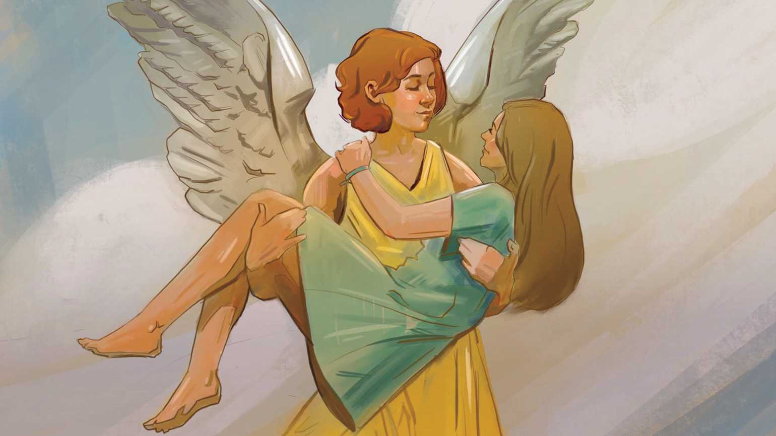 A mother angel holding her daughter in her arms.