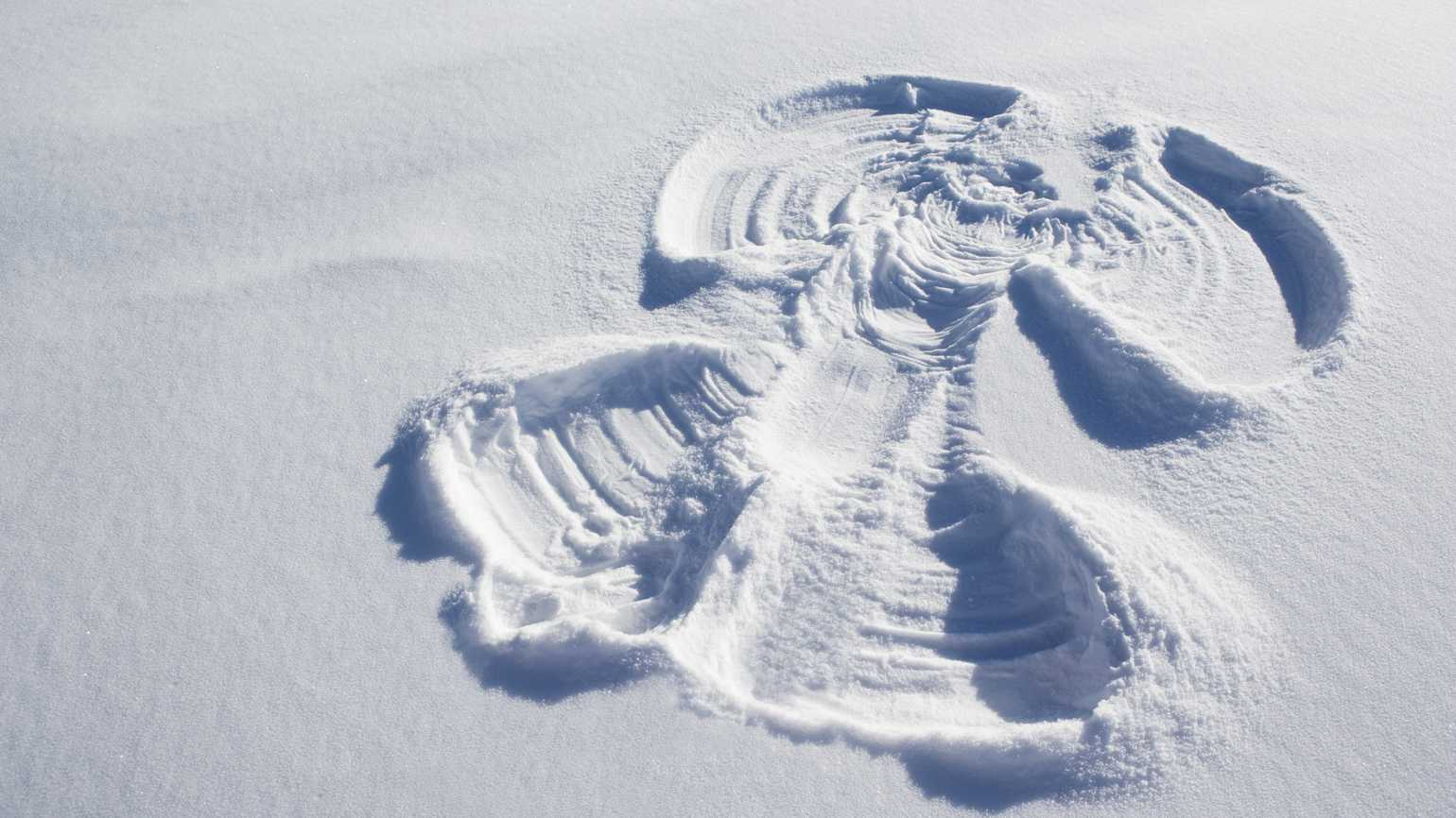 A large, majestic snow angel on a bed of untouched snow.